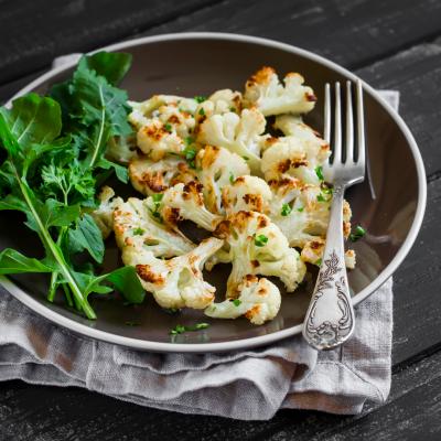 Roasted Cauliflower & Almond Salad with Tahini Dressing